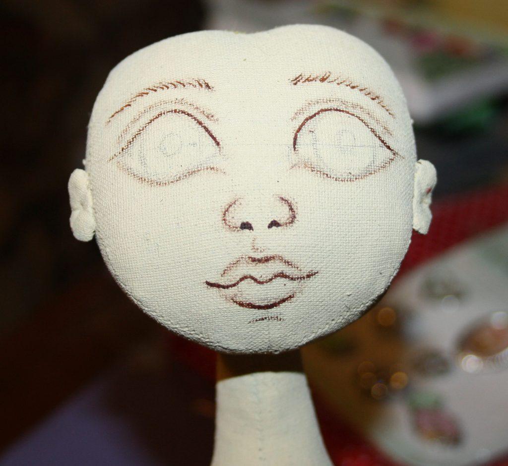 Более тонкая прорисовка лица акриловой краской